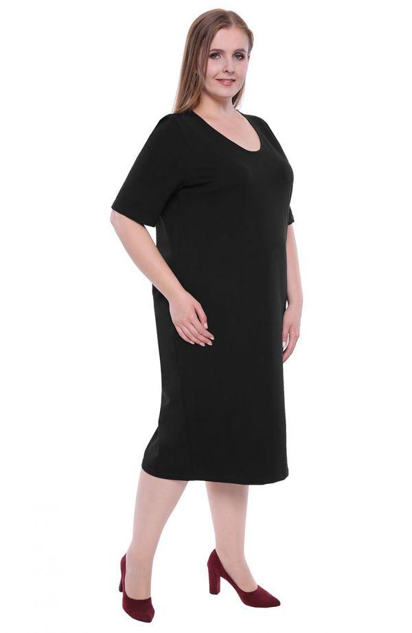 Czarna sukienka z dzianiny dresowej