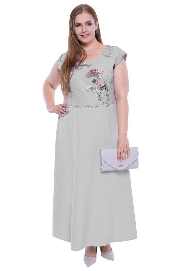 Długa sukienka w platynowym kolorze