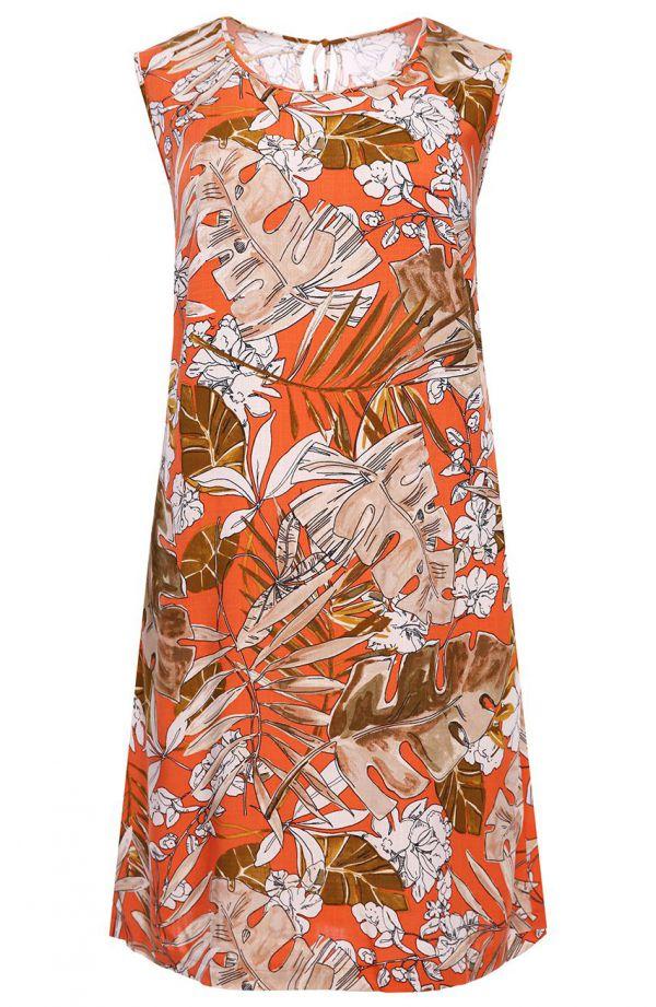 Pomarańczowa sukienka w liście monstery