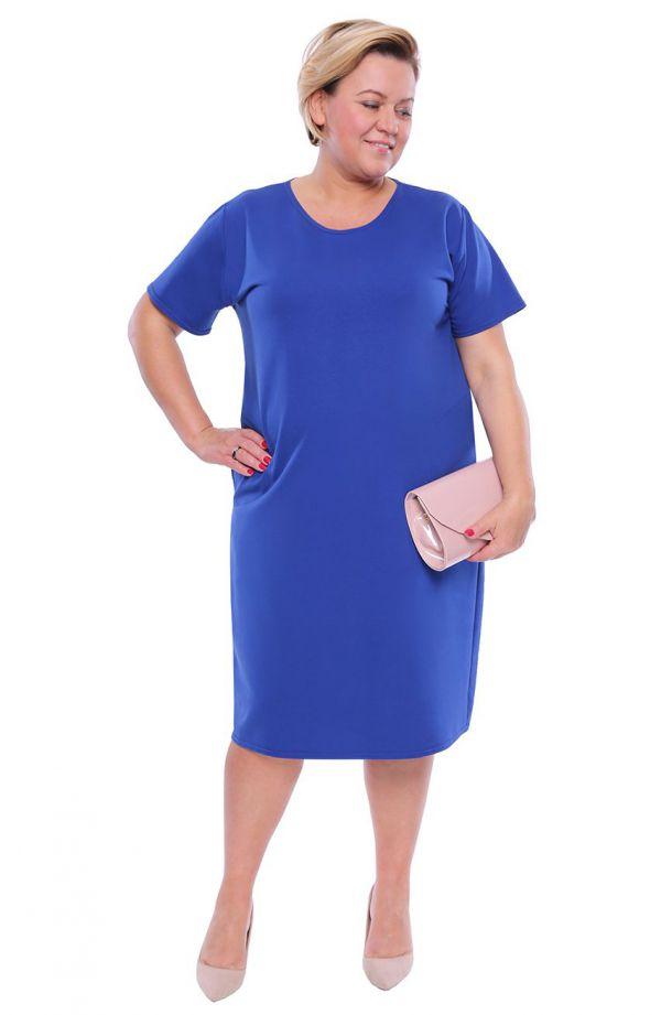 Chabrowa gładka sukienka z kieszeniami