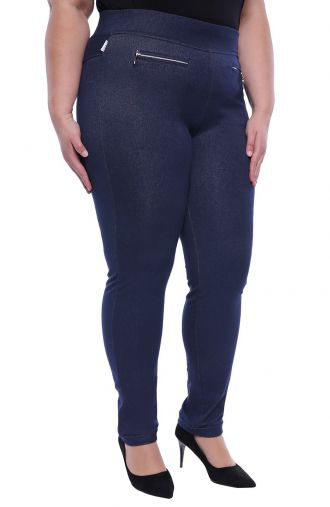 Dzianinowe dżinsowe legginsy z suwakami