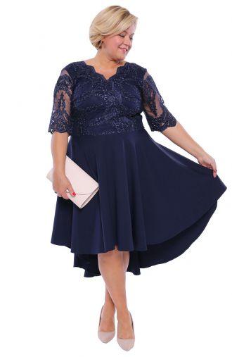 Sukienka z trenem w kolorze atramentowym