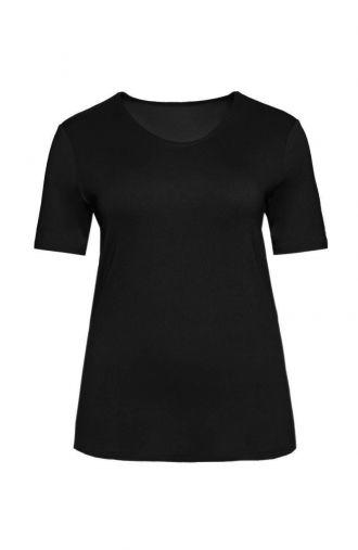 Czarna gładka koszulka z wiskozy