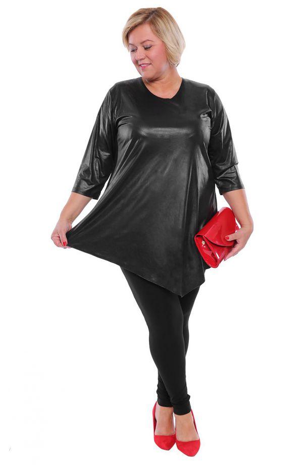 Asymetryczna skórkowa czarna tunika