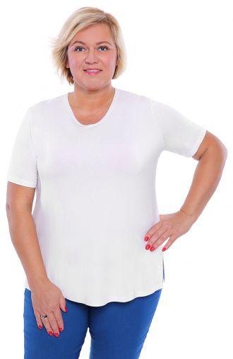 <span>Bluzki damskie duże rozmiary - b</span>iała gładka koszulka z wiskozy