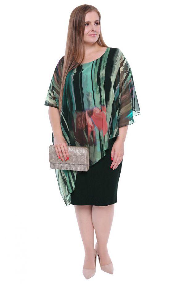 Czarna sukienka z narzutką w leśną abstrakcję- tanie sukienki plus size