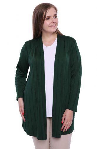 Zielona narzutka z wiskozy z długim rękawem