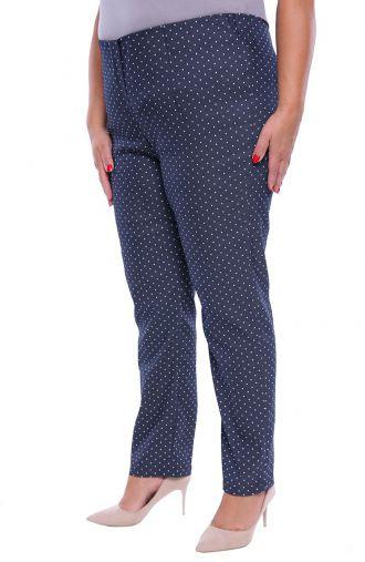 Jeansowe spodnie w drobne kropki z bengaliny