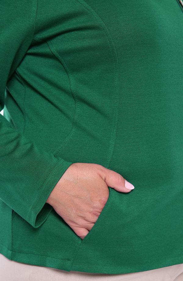 Zielony żakiet na suwak z kieszonkami