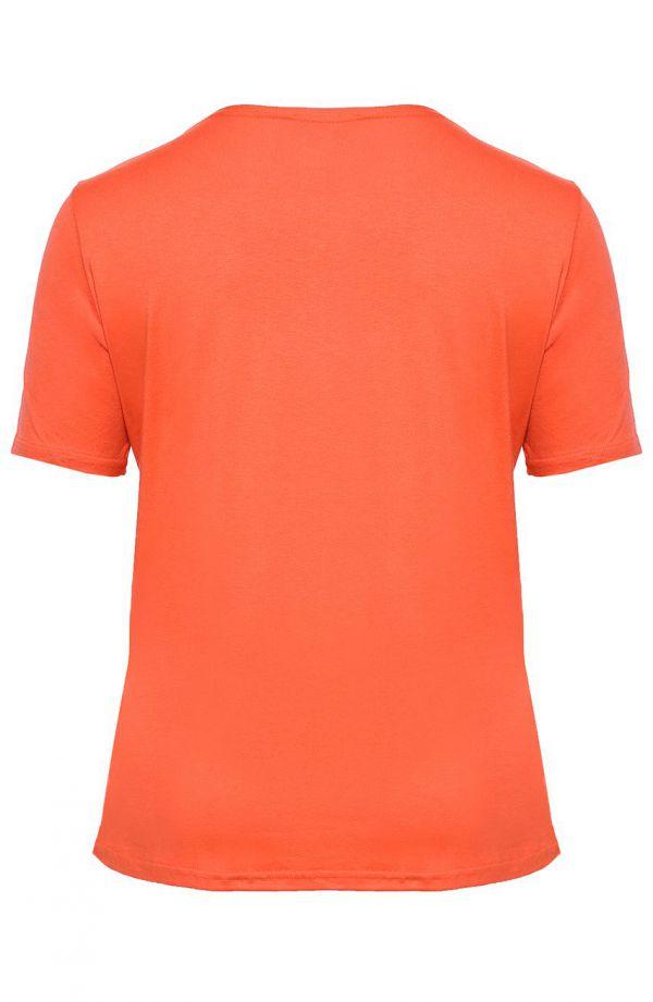 Koszulka z wiskozy w kolorze marchewkowym