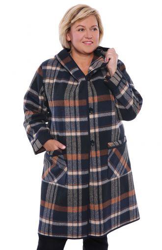Dłuższy płaszcz w kratę z kapturem