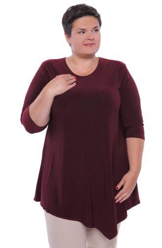 Asymetryczna tunika w kolorze ciemnej purpury
