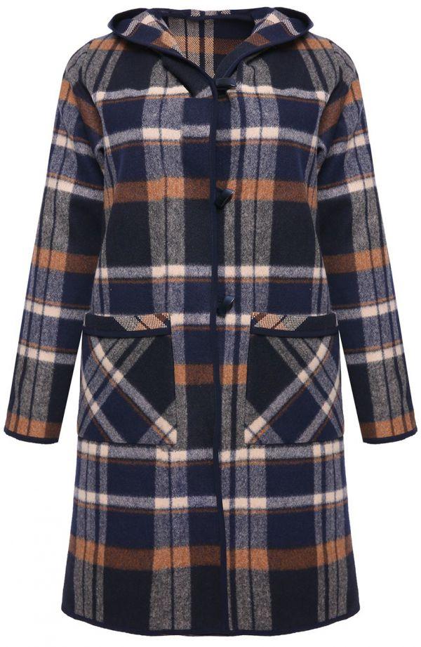 Dłuższy płaszcz w kratę z kapturem Modne Duże Rozmiary dla