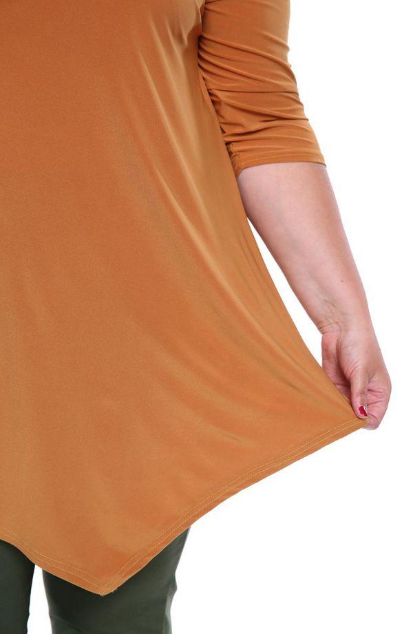 Asymetryczna tunika w kolorze cynamonu