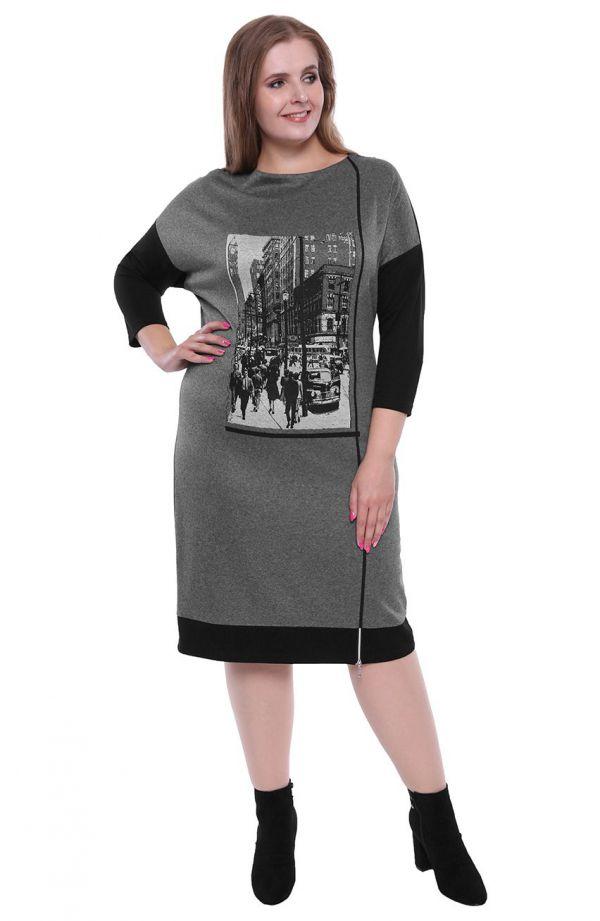 Dzianinowa sukienka z urbanistycznym wzorem