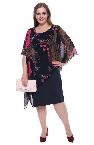 Sukienka z narzutką w amarantowe malwy