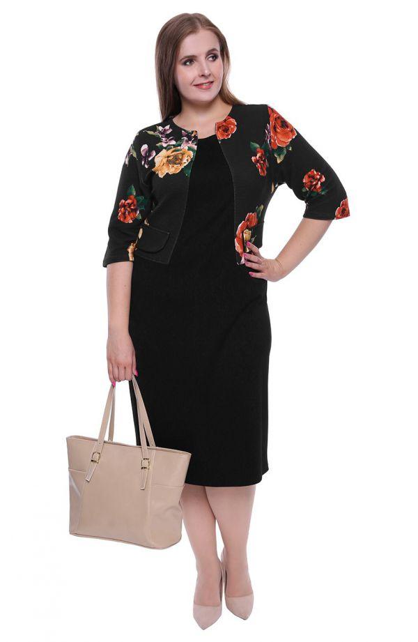 Sukienka z imitacją florystycznego żakietu