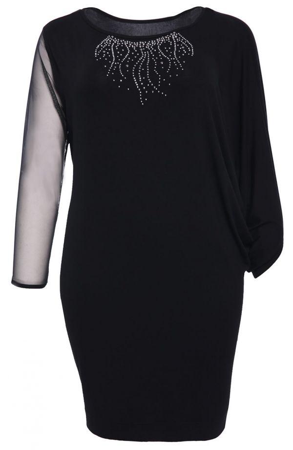 Czarna sukienka z imitacją błyszczącej kolii- tanie sukienki plus size