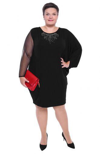 Czarna sukienka z imitacją błyszczącej kolii