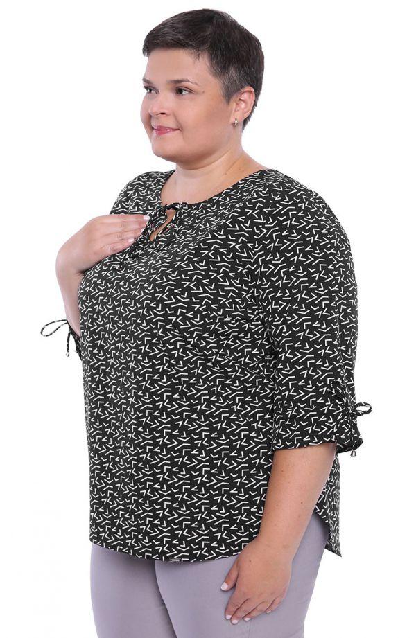 Czarna bluzka w białe wzory