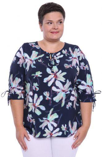 Granatowa bluzka w akwarelowe kwiatki