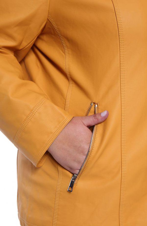 Musztardowa kurtka z ekoskóry ze stójką