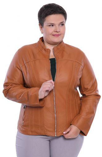 Karmelowa kurtka z ekoskóry z przeszyciami