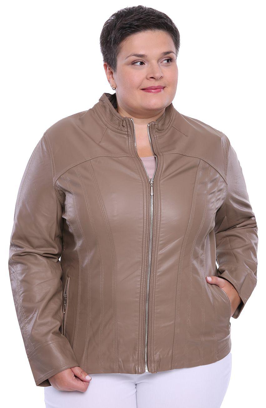 Beżowa kurtka z ekoskóry z przeszyciami modneduzerozmiary 8460