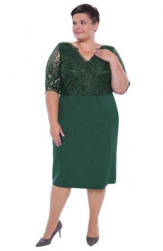 Dłuższa zielona sukienka połyskująca koronka