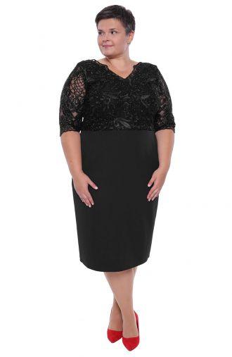 Dłuższa czarna sukienka połyskująca koronka
