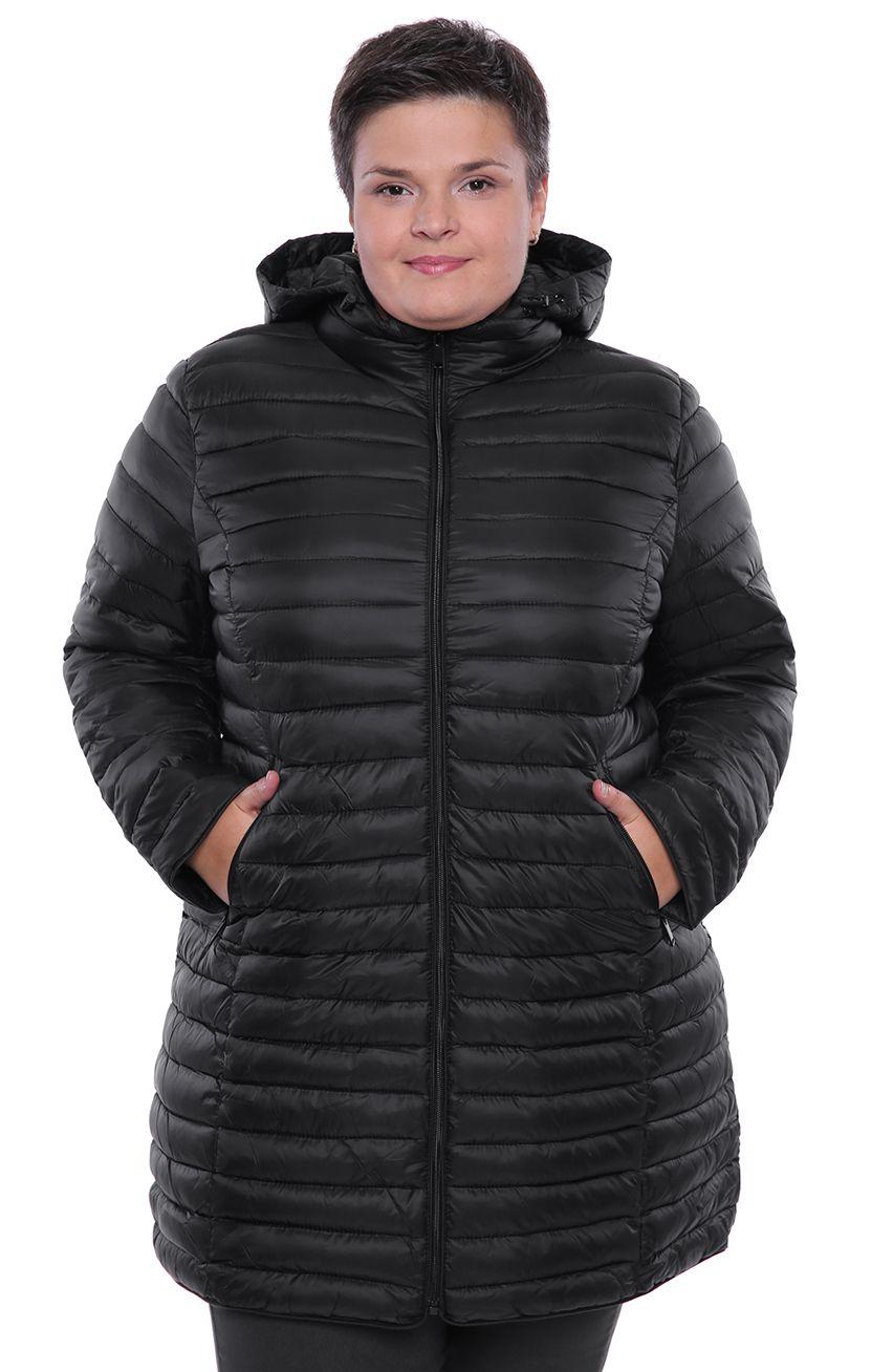 Czarna pikowana kurtka z odpinanym kapturem modneduzerozmiary 8499