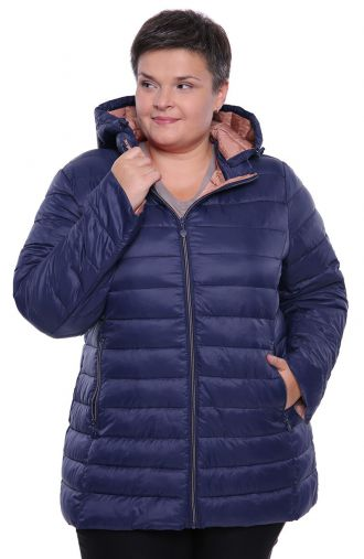 Granatowa pikowana kurtka z przedłużanym tyłem