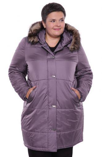 Ciepły wrzosowy płaszcz z futerkiem