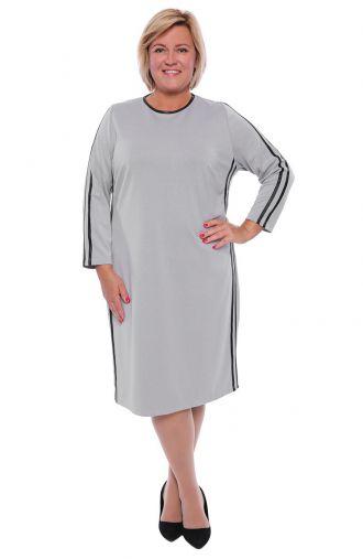Szara sukienka ze skórkowymi lampasami