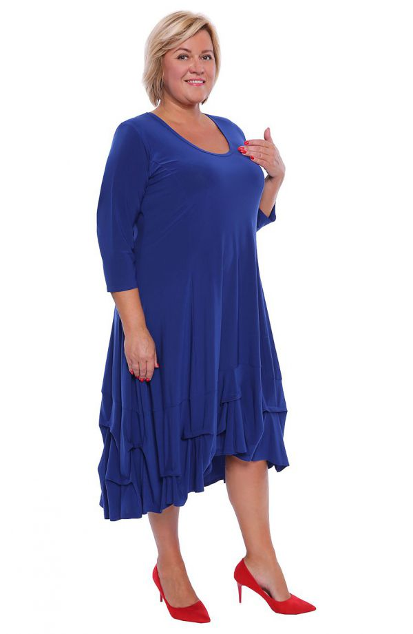 Chabrowa dłuższa sukienka z falbanką