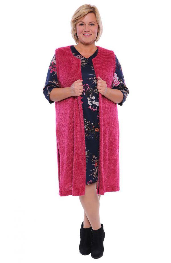 Różowa dłuższa puchata kamizelka