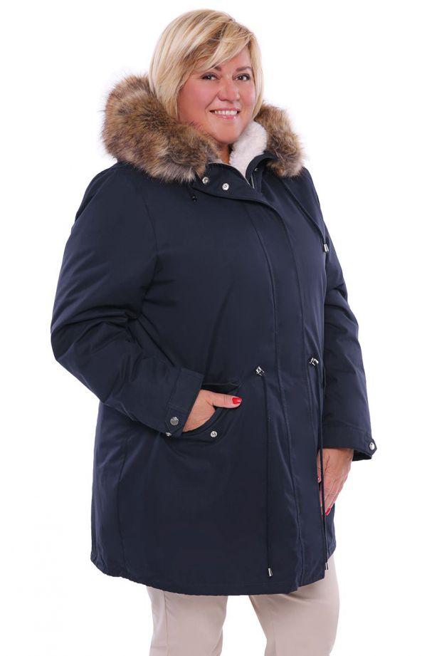 Granatowa kurtka zimowa parka z kapturem