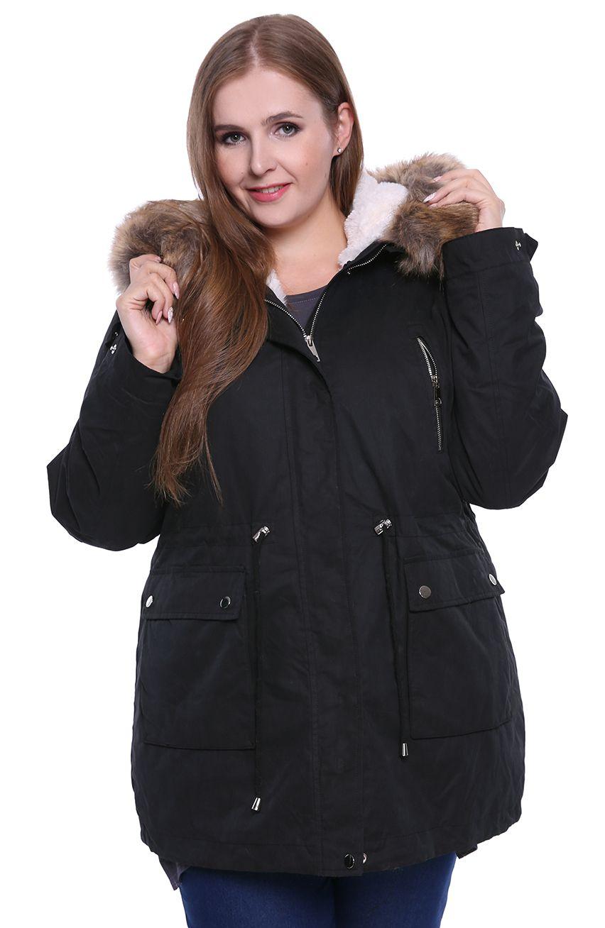 Czarna kurtka zimowa parka na suwak z kapturem modneduzerozmiary 8537