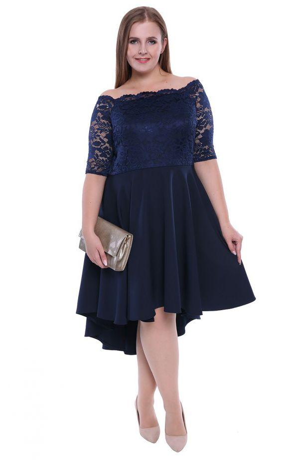 Granatowa suknia wieczorowa z trenem