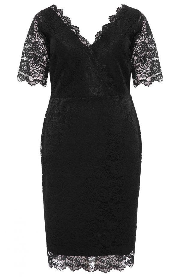 Dłuższa czarna koronkowa sukienka dekolt V- tanie sukienki plus size