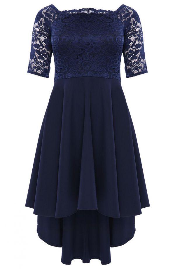 Granatowa suknia wieczorowa z trenem 62