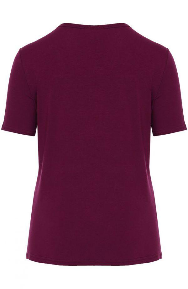Koszulka z wiskozy w kolorze jagodowym