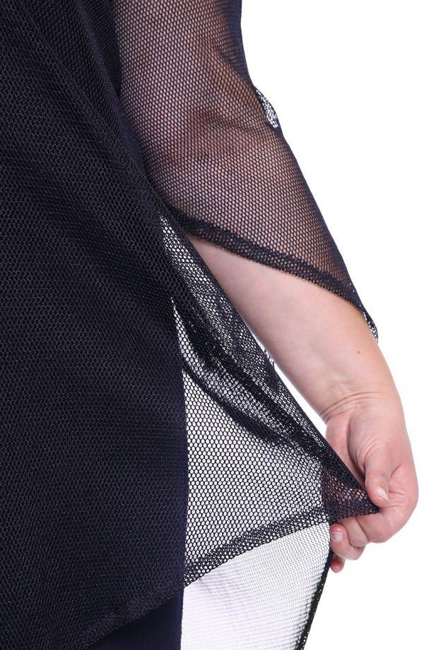Granatowa sukienka z siateczkową narzutką