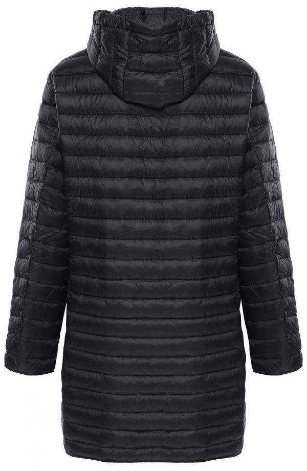 Czarna pikowana kurtka z odpinanym kapturem