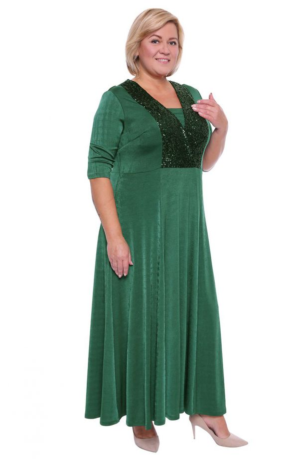 Szmaragdowa suknia maxi z cekinami