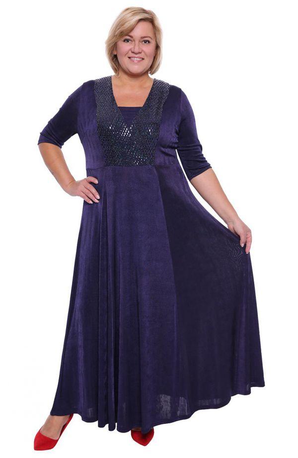 Granatowa suknia maxi z cekinami
