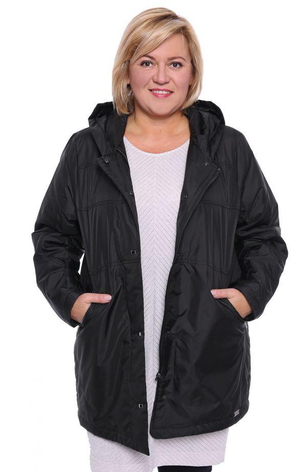 Dłuższa czarna kurtka z kapturem