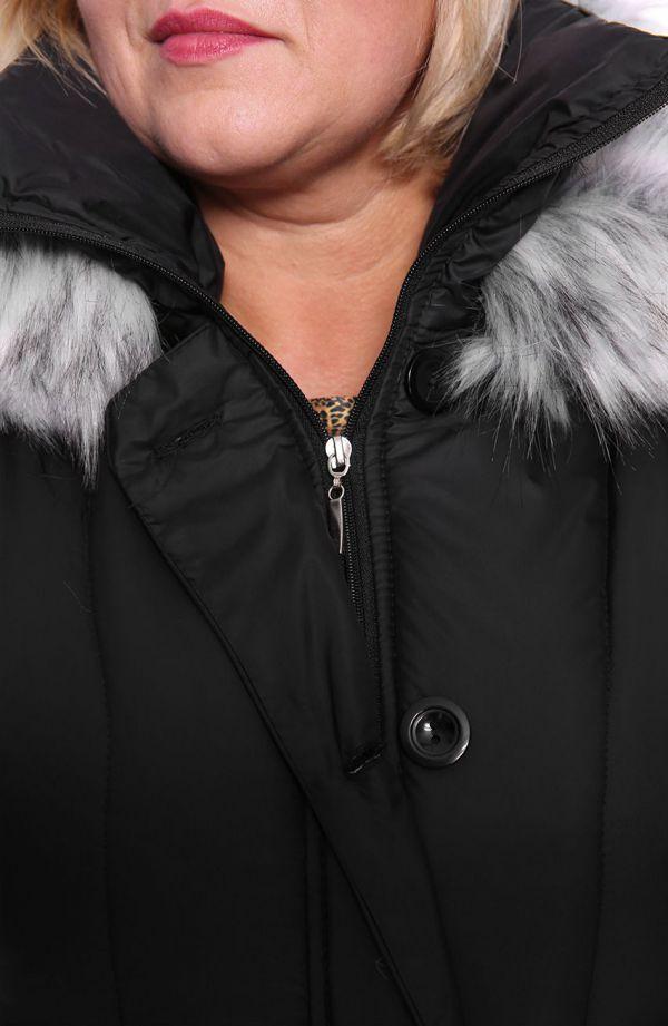Ciepła zimowa kurtka w czarnym kolorze