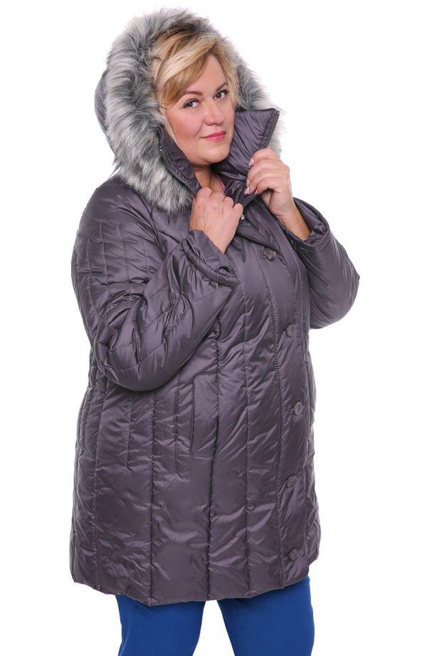 Ciepła zimowa kurtka we wrzosowym kolorze