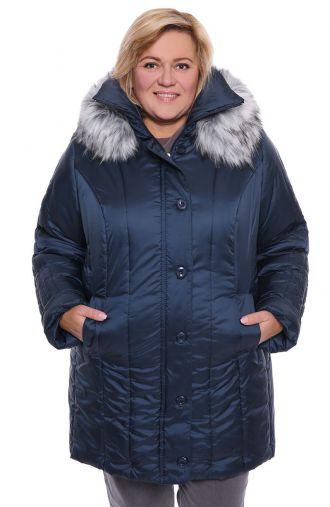 Ciepła zimowa kurtka w granatowym kolorze